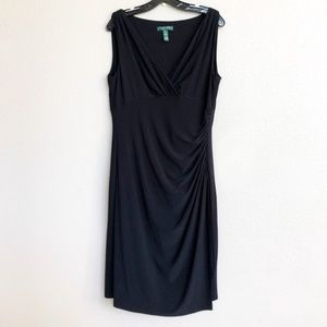 Lauren Ralph Lauren Black Sleeveless Ruched Dress
